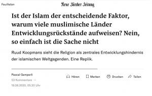 """Notre réponse sur la NZZ au livre du sociologue Ruud Koopmans: """"Das Verfallene Haus des Islam"""""""